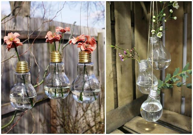 Green Pear Diaries, reciclaje, bombillas recicladas, jardines colgantes