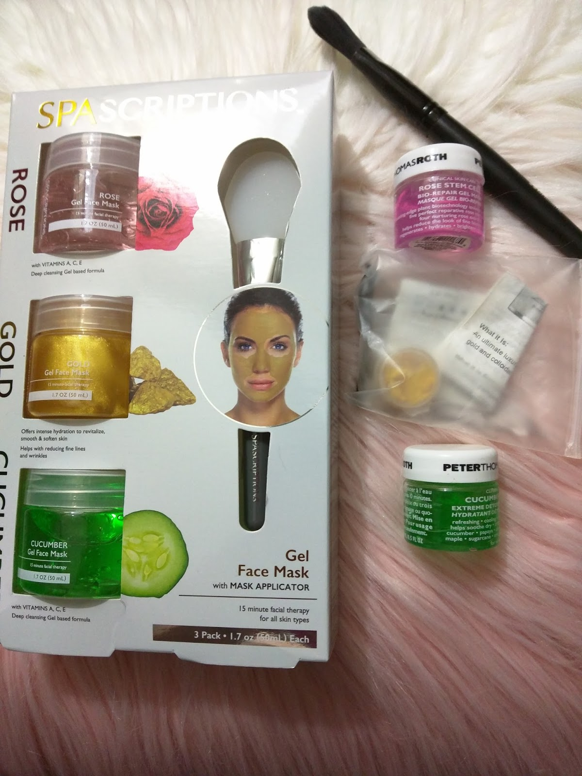 Image result for SPAscriptions ROSE, GOLD, CUCUMBER Gel Face Mask with Mask Applicator