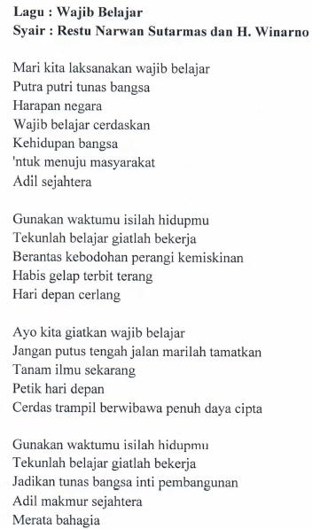 Lirik Lagu Wajib Belajar Syair : Restu Narwan Sutarmas dan H. Winarno
