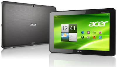 Acer Iconia Tab A511 Specifications - LAUNCH Announced 2012, February DISPLAY Type TFT capacitive touchscreen, 256K colors Size 10.1 inches (~65.0% screen-to-body ratio) Resolution 1280 x 800 pixels (~149 ppi pixel density) Multitouch Yes BODY Dimensions  260 x 175 x 11 mm (10.24 x 6.89 x 0.43 in) Weight 777 g (1.71 lb) SIM Mini-SIM PLATFORM OS Android OS, v4.0 (Ice Cream Sandwich) CPU Quad-core 1.3 GHz Cortex-A9 Chipset Nvidia Tegra 3 GPU ULP GeForce MEMORY Card slot microSD, up to 32 GB (dedicated slot) Internal 16/32 GB, 1 GB RAM CAMERA Primary 5 MP, autofocus Secondary 1 MP Features Geo-tagging Video 720p NETWORK Technology GSM / HSPA 2G bands GSM 850 / 900 / 1800 / 1900 3G bands HSDPA 850 / 900 / 1900 / 2100 Speed HSPA 7.2/5.76 Mbps GPRS Yes EDGE Yes COMMS WLAN Wi-Fi 802.11 b/g/n, hotspot GPS Yes, with A-GPS USB microUSB v2.0 Radio No Bluetooth v2.1, A2DP, ED FEATURES Sensors Accelerometer, gyro, proximity, compass Messaging SMS(threaded view), MMS, Email, Push Email, IM Browser HTML, Adobe Flash Java No SOUND Alert types Vibration; MP3, WAV ringtones Loudspeaker Yes, with stereo speakers 3.5mm jack Yes  - Dolby Mobile  - Active noise cancellation with dedicated mic BATTERY  Non-removable Li-Po 9800 mAh battery (36 Wh) Stand-by  Talk time Up to 15 h (multimedia) Music play  MISC Colors Black, Silver  - HDMI port - MP3/WAV/WMA/eAAC+ player - MP4/H.264 player - Organizer - Document viewer - Predictive text input