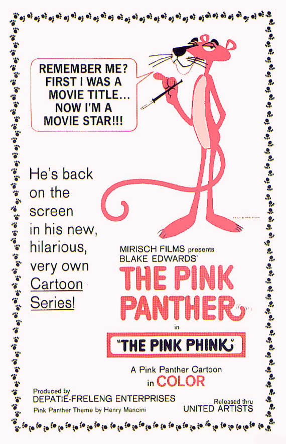 the pink panther movie posters, retro graphic design