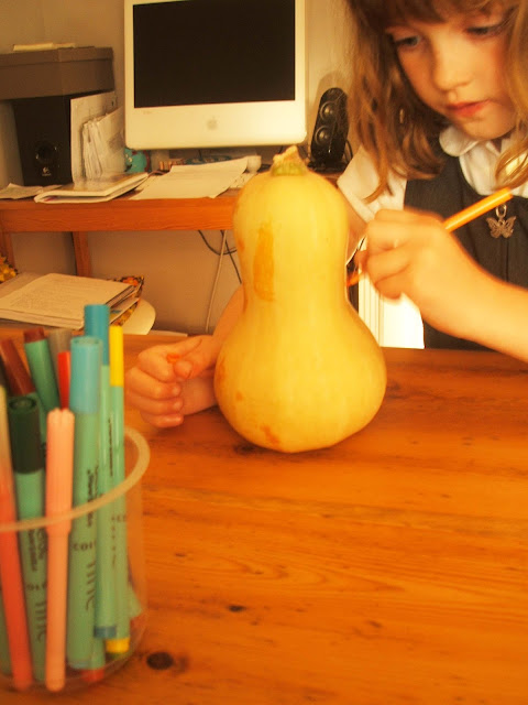 decorating a butternut squash