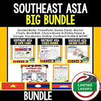 World Geography Southeast Asia Bundle, Anchor Charts, Games, Guided Notes, Digital Choice Boards, Google Classroom, Word Walls