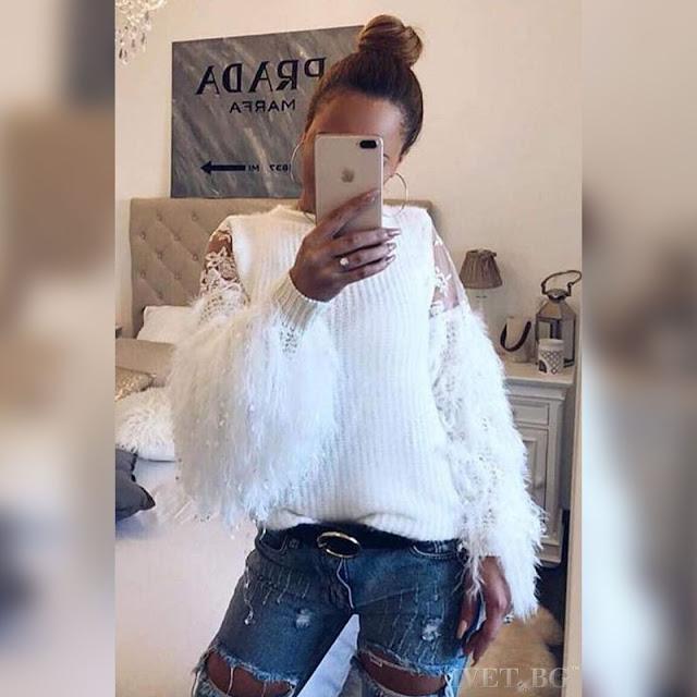 Μακρυμάνικο  γυναικείο  άσπρο πουλόβερ DOLLY