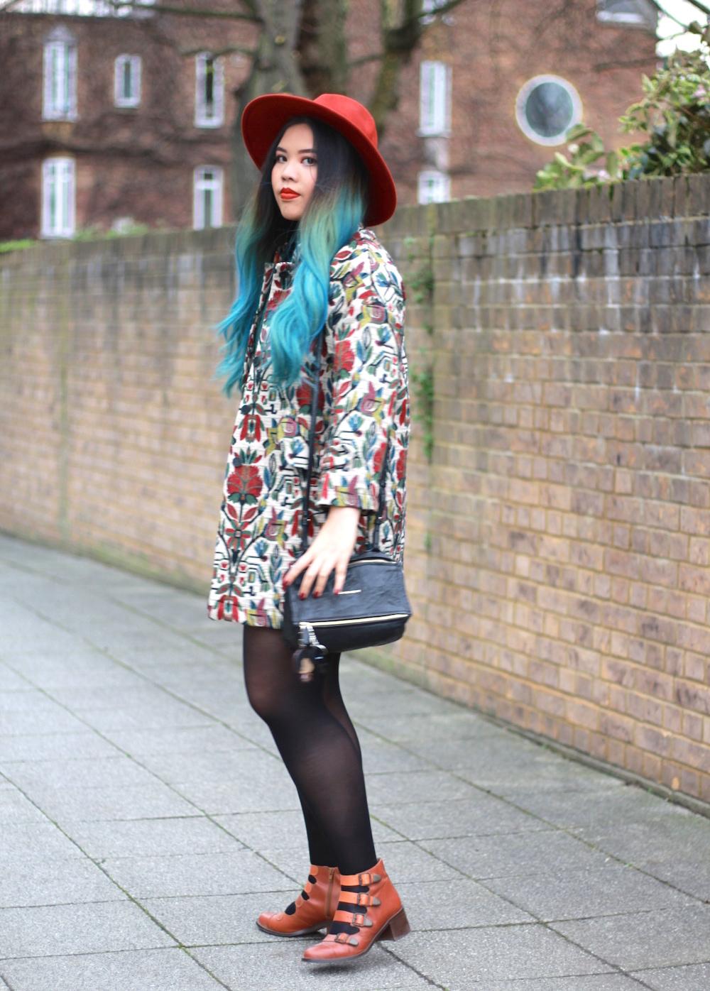 fe247a6b Zara coat / Zara dress / Catarzi hat / Topshop shoes / Givenchy bag /  Limecrime Velvetine in Pumpkin