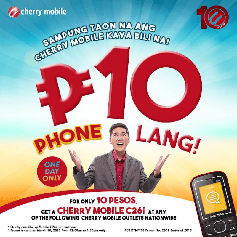 Sale Alert: Score PHP 10 Cherry Mobile phones this March 10!