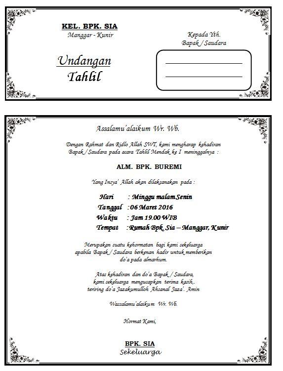 Ady Cahnom Download Contoh Undangan Acara Tahlil 1000 Hari