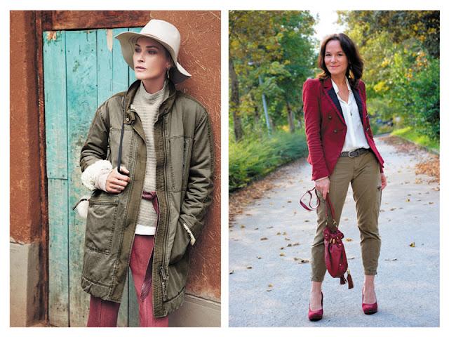 Куртка цвета хаки с бордовыми брюками, брюки цвета хаки с бордовым жакетом