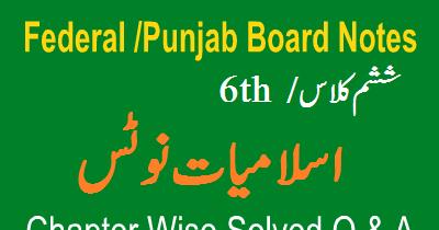 6th Class Islamiyat Federal Board Notes - Easy MCQs