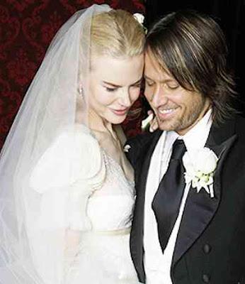 Foto de Keith Urban con su pareja en matrimonio