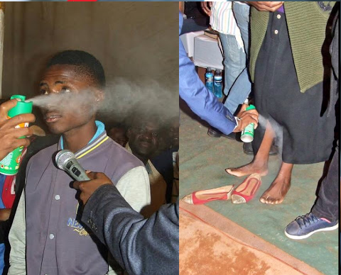 Controversial SA Pastor Sprays Insecticide On His Church Members (Photos)