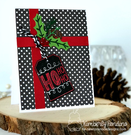 Holiday Card with Tag by Kimberly Rendino | Joyful Tags stamp set & Tags Times Two Die Set by Newton's Nook Designs #newtonsnook