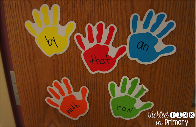 sight words written on hands and taped to a door