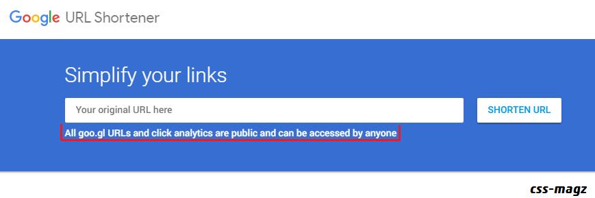 Google's URL shortener homepage.