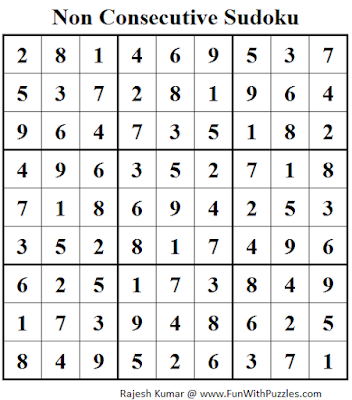 Non Consecutive Sudoku (Daily Sudoku League #104) Solution
