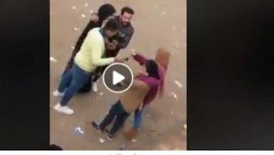 بالفيديو| قبلات وأحضان بين شاب و3 فتيات أمام مدرسة بنات في الشرقية