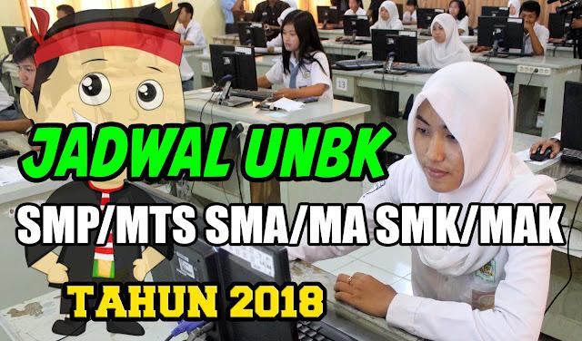 Jadwal Pelaksanaan UNBK SMP, SMA dan SMK Tahun 2018