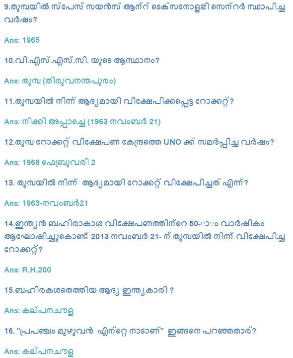 India in Space Important GK Questions in Malayalam