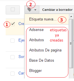creando etiquetas en blogger