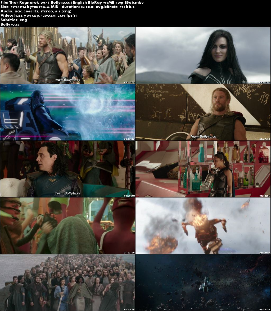 Thor Ragnarok 2017 BluRay 900MB English 720p ESub Download