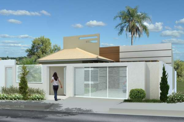 Construindo minha casa clean fachadas muros grades e for Casa moderna 2019