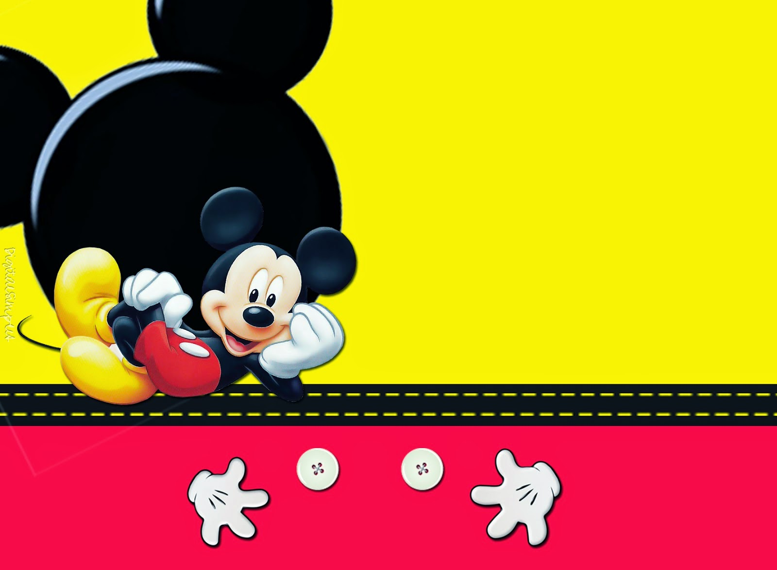 Mickey: Free Printable Invitations, Cards or Photo Frames.