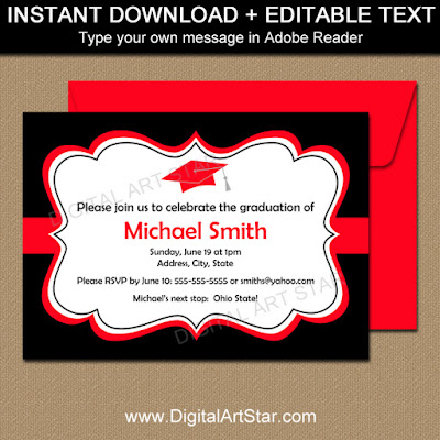 college graduation printable invitations in black and red