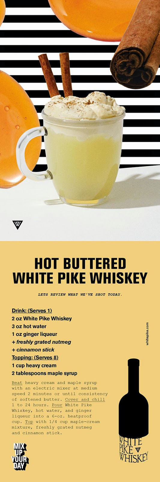 White Pike Hot Buttered White Whiskey Recipe Card