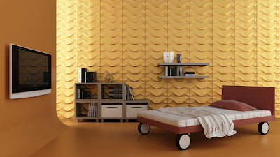 3D bedroom wall art design with mosaic paneling