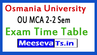 Osmania University MCA Exam Time Table