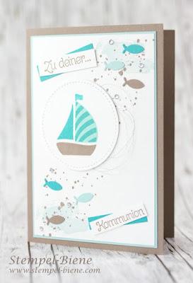Kommunionskarte Junge; Kommunionskarte Fische; Idee Kommunion; Taufkarte Junge; Stampinup Kommunionskarte; Stampinup Demonstrator; Stampinup Sale a bration 2017