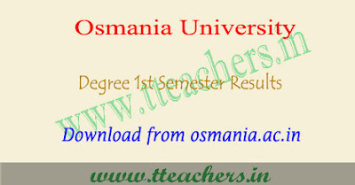 OU degree 1st sem results 2018, Osmania university 1st year result