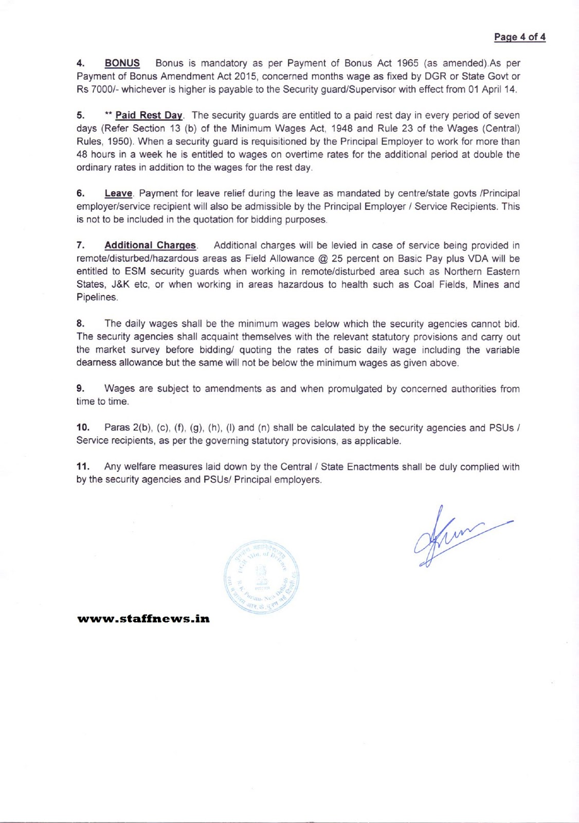 minimum wages w e f apr for one day paid to all guards dgr wages 1 apr 2016 notes