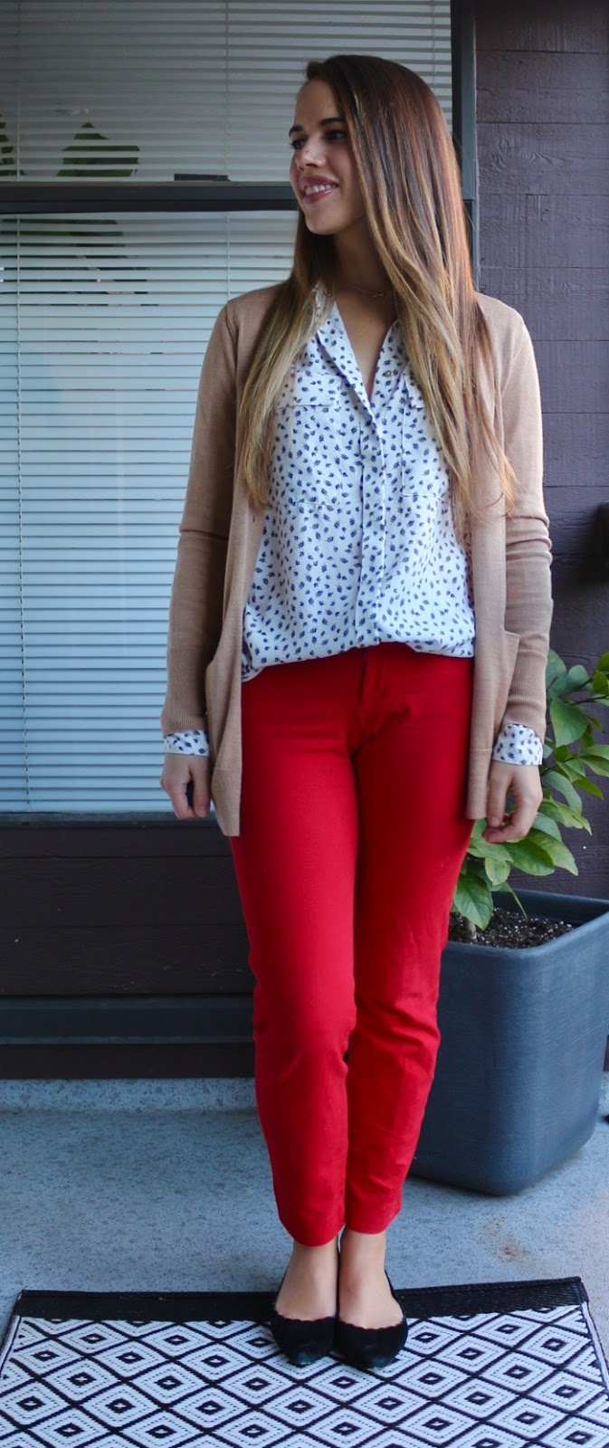 Jules in Flats - Camel Cardigan, Pocket Blouse and Red Ankle Pants for Work