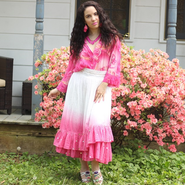 Pink Blouse and Skirt