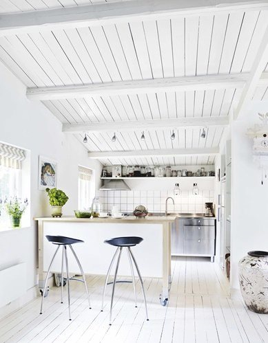 Kitchen kitchen with grey accents in a Danish summer cottage