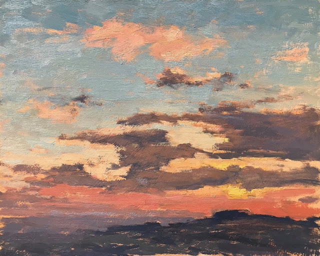 #308 'Sunset over The South Downs' 10×12″