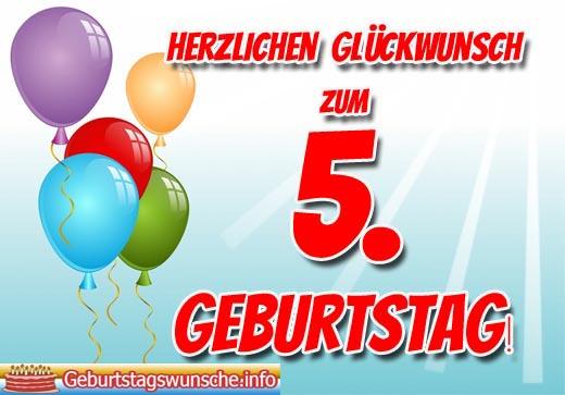 Wünsche zum 5. Geburtstag