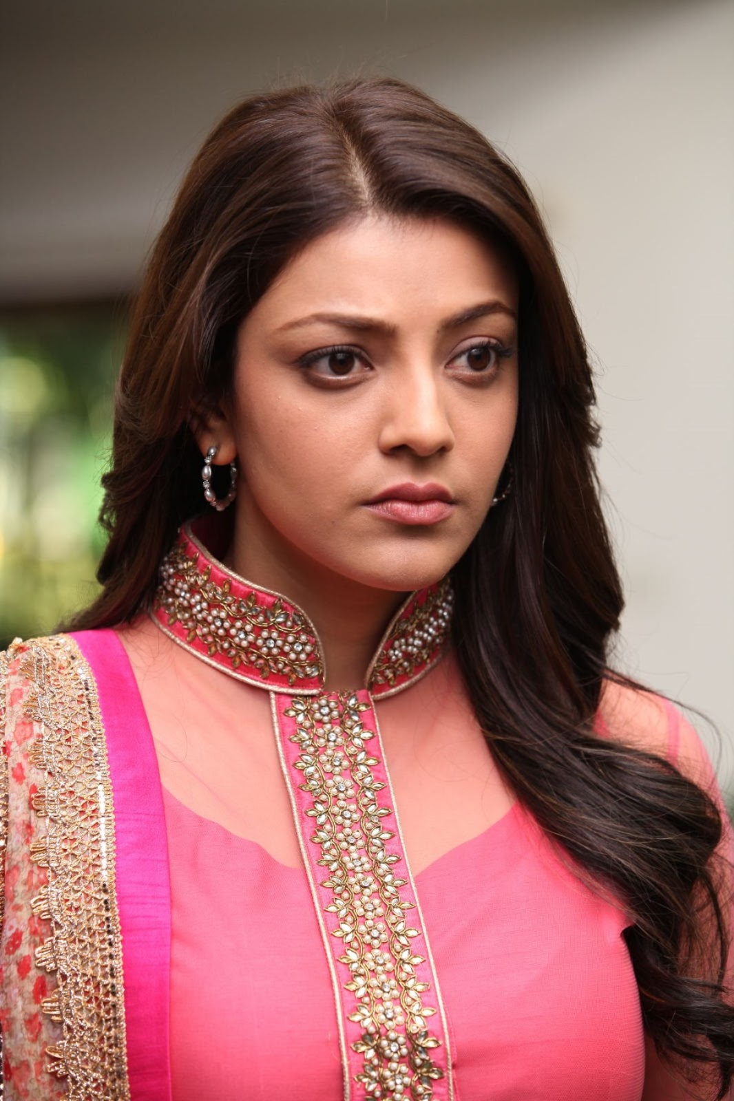 Kajal Agarwal Cute Hot Stills In Pink Dress