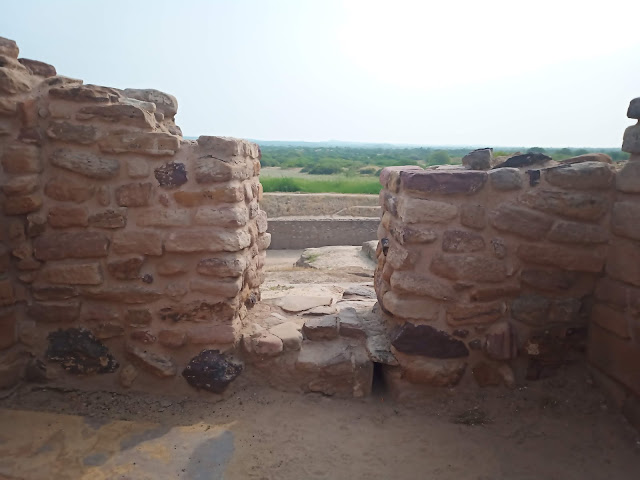 View of grass plains from Dholavira citadel stone gate
