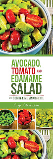 Avocado, Tomato, Edamame, and Red Onion Salad Recipe with Cumin-Lime Vinaigrette found on KalynsKitchen.com