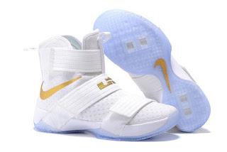 Nike LeBron Soldier 10 White gold , Sepatu Basket Murah , Sepatu basket Premium