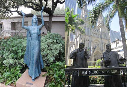 Imagens na Catedral do Rio e em templo americano