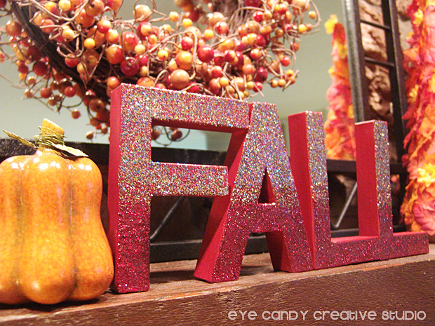 glittered letters, home decorating, decorating the fall mantle, letters