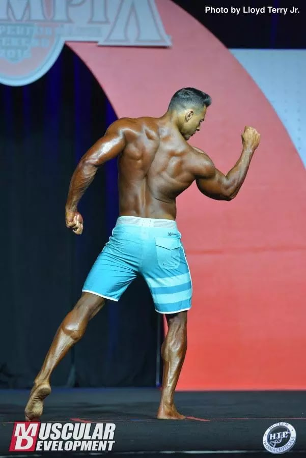 Felipe Franco mostra dorsais no palco do Mr. Olympia 2016 - Foto: Lloyd Terry Jr./Muscular Development