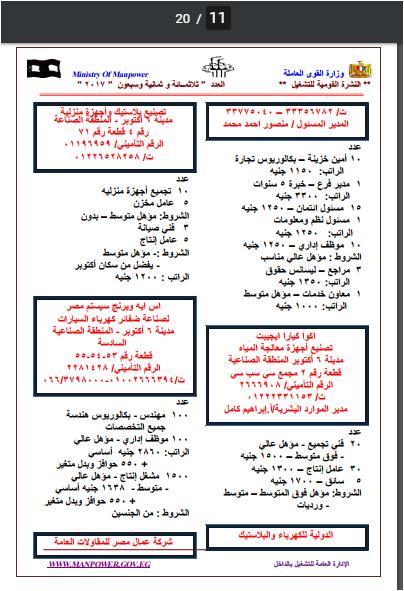 """وظائف """"وزارة القوى العامله"""" خلال شهرى يوليو و اغسطس 2017 (عدد""""8701"""" فرصة عمل )"""