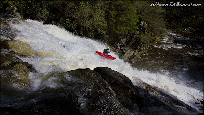Mark Taylor sending Laurel Falls on the Laurel Fork, photo by Chris Baer, NC