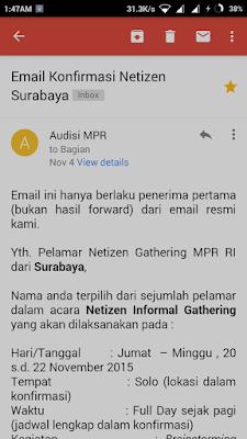 Email Kofirmasi Pertama Netizen Gathering MPR-RI