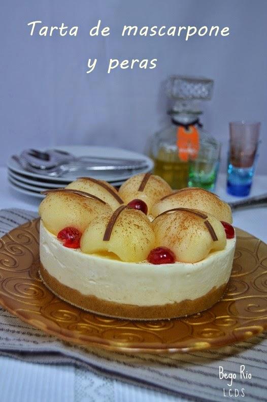 Tarta de mascarpone y peras
