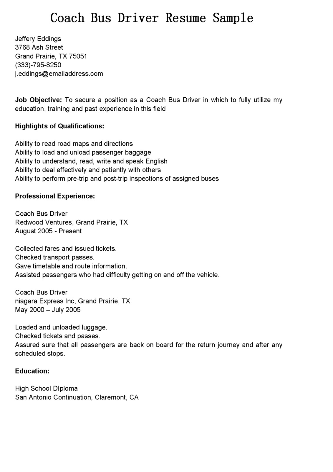 Driver Resumes Coach Bus Driver Resume Sample